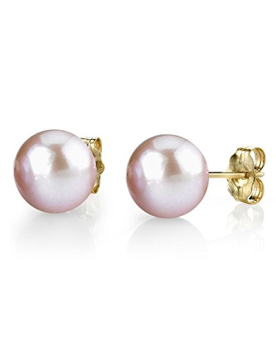 - THE PEARL SOURCE 14K Gold 8-9mm AAAA Quality Round Pink Freshwater Cultured Pearl Stud Earrings for Women
