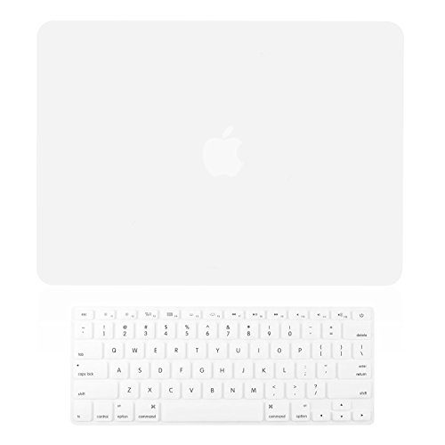 "TOP CASE - 2 in 1 Bundle Deal Rubberized Hard Case Cover and Keyboard Cover for MacBook Pro 15"" with Retina Display (Release 2012-2015) Model: A1398 - Satin White"