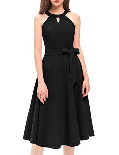 (DRESSTELLS Women's Cocktail Party Dress Bridesmaid Swing Vintage Tea Dress with Cap-Sleeves Black 3XL)