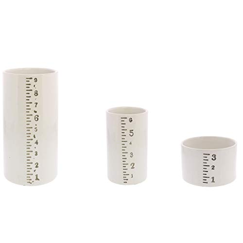 (My Swanky Home Ruled Cylinder Container Vase Set 3 | Retro Measuring Vintage Style Industrial)