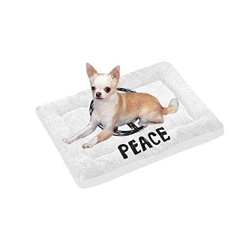 InterestPrint Peace Symbol Grunge Hippie or Pacifist Sign Dog Bed Mat Soft Washable Pet Pad Mattress for Dog or Cat Sleeping, 30x21 Inch