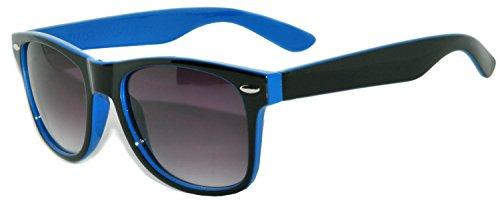 Two Tone (Black-Blue) Vintage Sunglasses Smoke Lens Retro'80 for Men