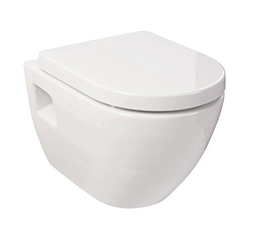 Wand-WC-Set Style | Weiß | Inklusive WC-Sitz mit Soft-Close-Absenkautomatik | Tiefspüler | einfache Montage | Hygiene Plus | Wand Toilette | Hänge Wc