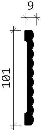 Moldura para pared 151374 Profhome Perfil de estuco Moldura decorativa Moldura friso dise/ño moderno blanco 2 m