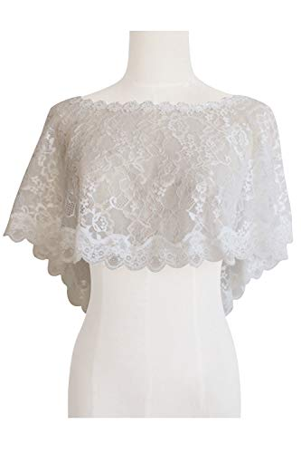 Women's Floral Lace Shawl Wedding Bolero Bridal Cape Lace Shrug for Wedding Party ()