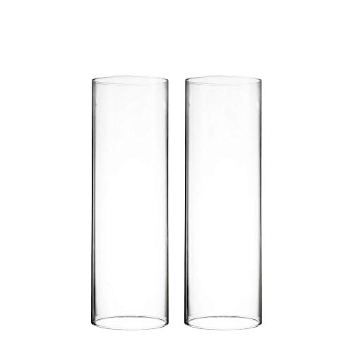CYS EXCEL Various Size Hurricane Candleholders, Chimney Tube, Glass Cylinder Open Both Ends, Open Ended Hurricane, Candle Shade, Glass Shade Candleholders Set of 2 (3