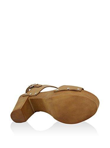 Sandalia de tacon En Piel Marron Marrón Claro