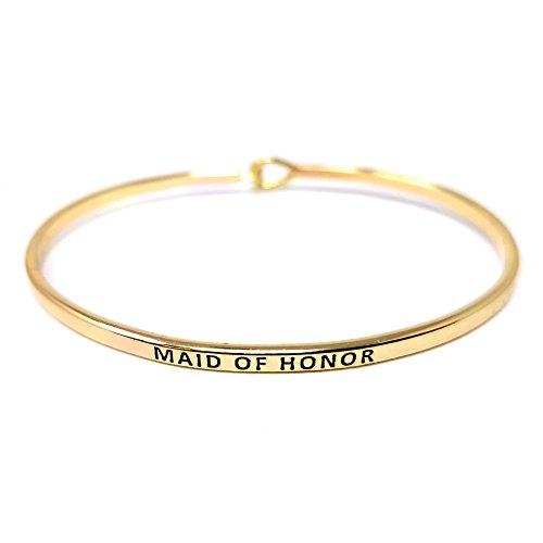 Me Plus Inspirational MAID OF HONOR Positive Message Engraved Thin Bangle Hook Bracelet