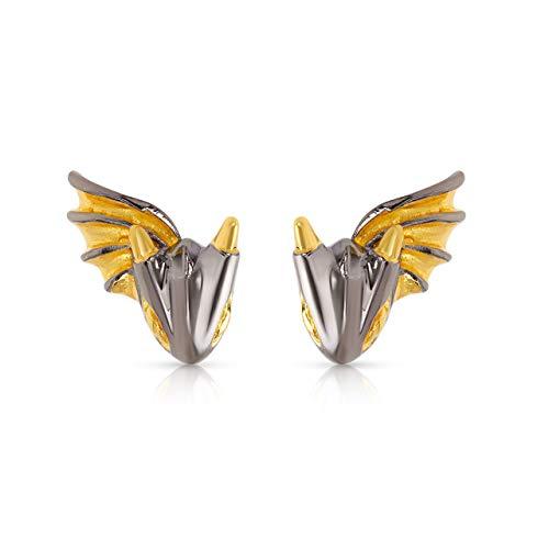 Black Knight Dragon stud Earrings by MONVATOO London