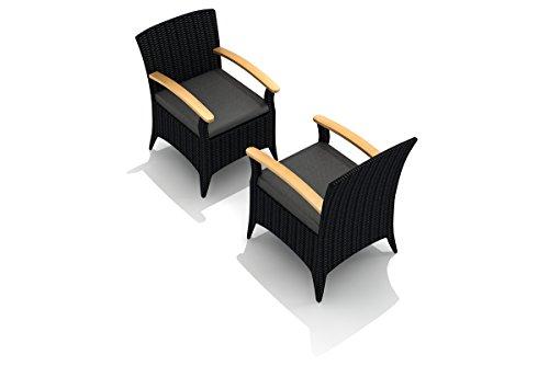 (Harmonia Living HL-AR-CB-DAC-CC Arbor Dining Arm Chair, Canvas Charcoal Cushion)
