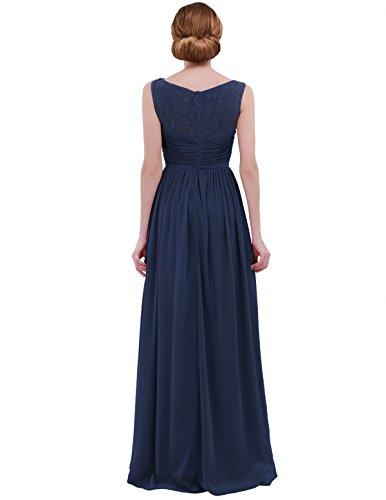 2d57cd2d948 ... iEFiEL Damen Kleid Festliche Kleider Elegant Abendkleid Hochzeit  Cocktailkleid Chiffon Langes Brautjungfernkleid 34-46 Marineblau ...