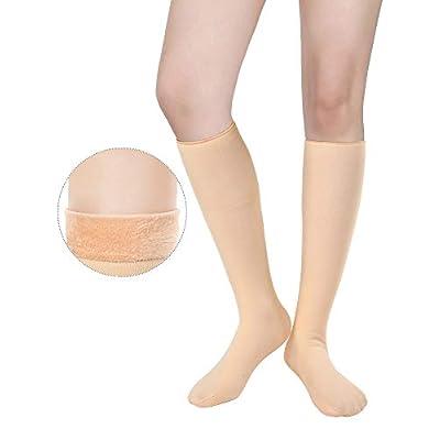 2 Pairs Women Thick Knee High Socks Velvet Lined Thermal Socks Boot Stockings Winter Warm Crew Socks at Amazon Women's Clothing store