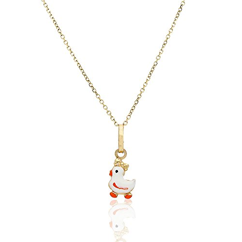 14k Yellow Gold White Enamel Duck Pendant 1mm Cable Chain Necklace 16-18