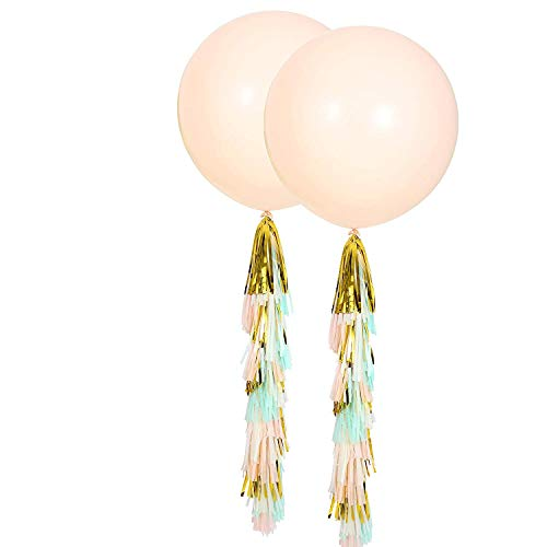Fonder Mols 36'' Peach Round Balloons with Mint Peach Ivory Gold Tassel Garland for Wedding Baby Shower, All Event & Party Supplies(Set of 2) (36 Inch Latex Balloon Peach)