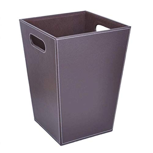 ROLLSSS Square Leather Small Trash Can Wastebasket, Garbage Container Bin for Bathrooms, Powder Rooms, Kitchens, Home Offices