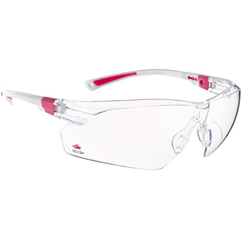 NoCry Safety Glasses with Clear Anti Fog Scratch Resistant Wrap-Around Lenses and No-Slip Grips, UV Protection. Adjustable, White & Pink Frames