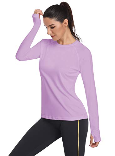 HISKYWIN Women's UPF 50+ Sun Protection Long Sleeve Outdoor T-Shirt Athletic Top Rashguards Light Purple-XL ()