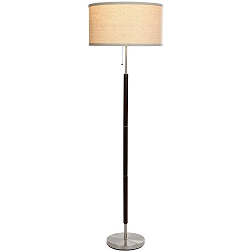 (Brightech Carter LED Floor Lamp Classy Vintage Drum Shade Lamp- Tall Pole Standing, Industrial Uplight Lamp for Living Room, Family Room, Den Office, or Bedroom- Energy Efficient Walnut Finish (Certif)