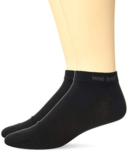 HUGO BOSS Men's 2-Pack Solid Cotton Ankle Socks, Black, 7-13 (Cotton Boss Black)