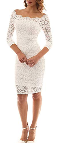 LITTLEPIG Women's Off Shoulder Elegant Lace Hollow Dress Long Sleeve Bodycon Cocktail Party Wedding Dresses White