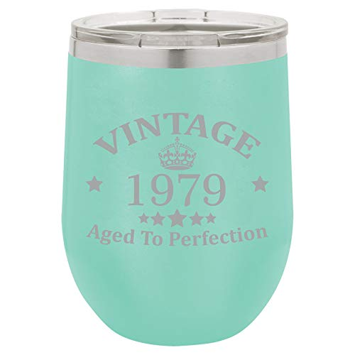 12 oz Double Wall Vacuum Insulated Stainless Steel Stemless Wine Tumbler Glass Coffee Travel Mug With Lid Vintage Aged To Perfection 1979 Birthday 40th Birthday (Teal)
