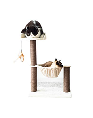 Catry Three-Level Cat Tree, Hammock Bed Cat Tower with Natural Sisal Scratching Posts and Teasing Feather