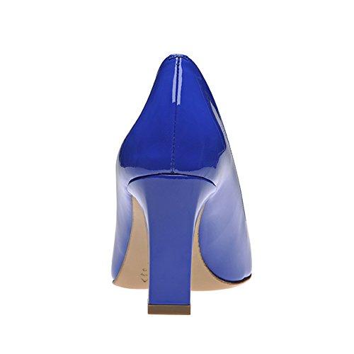 Zapatos de Shoes Piel Azul para Evita real azul mujer de vestir FfHIIxn