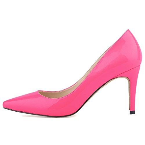 Scarpe Donna Loslandifen Scarpe Con Tacchi Vertiginosi Scarpe Da Donna Sneakers A Punta In Pelle Rosa, Tacchi 8cm