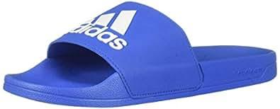 adidas Men's Adilette Shower Sandal White/Black Blue, 4 Medium US