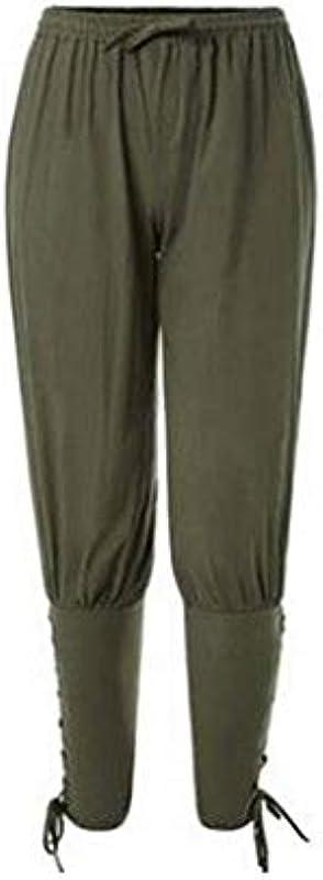 Męskie Mittelalter Hose Wikinger Festlich Odzież Schnell Hose Baumwolle Piratenhose Trocknend Männer Fashion (Color : Armeegrün, Size : M): Odzież