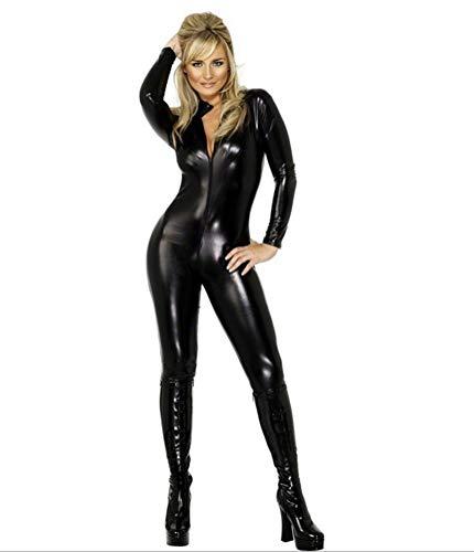 Yeniya Female Sexy Halloween Leather Open Siamese Corset Catsuit Costume, Black, -