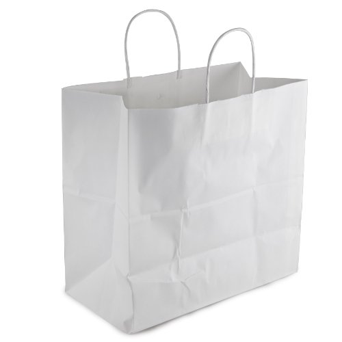 Duro ID# 87281 Jr. Mart Shopping Bag 65# White 250pk 13 x 7 x 13 by Duro