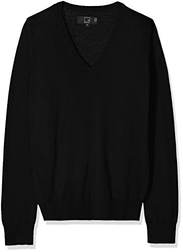 Meraki Women's Merino V Neck Sweater,  (Black), M (US 8) - Merino Wool Sweater