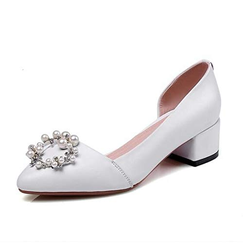 Heels Spring Leather Silver Chunky Shoes Black White Nappa ZHZNVX White Heel Comfort Women's xqIBYY