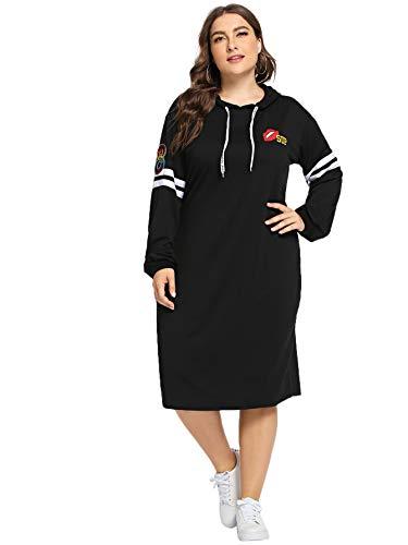 Romwe Women's Plus Size Side Split Patched Hoodie