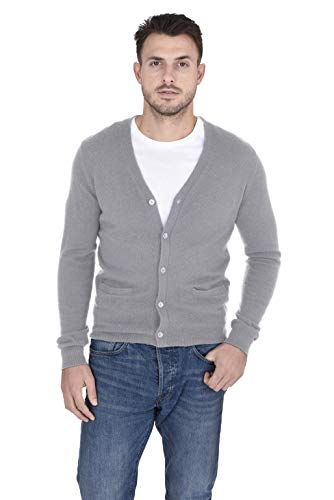 V-neck Performance Vest Sweater (Cashmeren Men's 100% Pure Cashmere Classic Knit Soft Button Front Long Sleeve Cardigan Sweater (Heather Grey, X-Large))