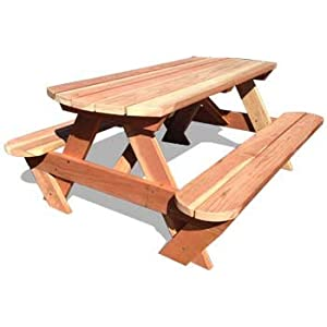 6' Genuine California Redwood Picnic Table, Round Ends