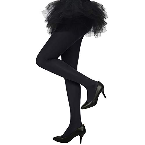 HDE Womens Solid Candy Color Opaque Microfiber Footed Tights Stockings,XS-M,Black -