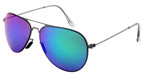 Laurels UV Protected Mirror Aviator Unisex Sunglasses -(IND-1009R Military Green Lens)