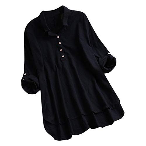 TANLANG☀Women Cotton Linen Loose Solid Color Long-Sleeved Shirt Blouse V Neck Button Down Shirts Tie Front Knot Casual Tops Black