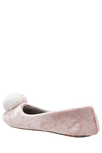 next Mujer Pantuflas tipo bailarinas pompones terciopelo Corte Regular Rosa