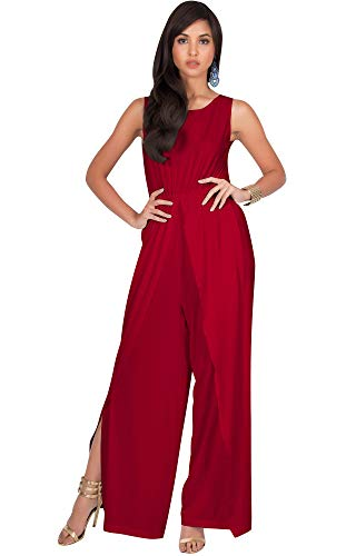 - KOH KOH Plus Size Womens Sleeveless Cocktail Wide Leg Casual Cute Long Pants One Piece Jumpsuit Jumpsuits Pant Suit Suits Romper Rompers Playsuit Playsuits, Red XL 14-16