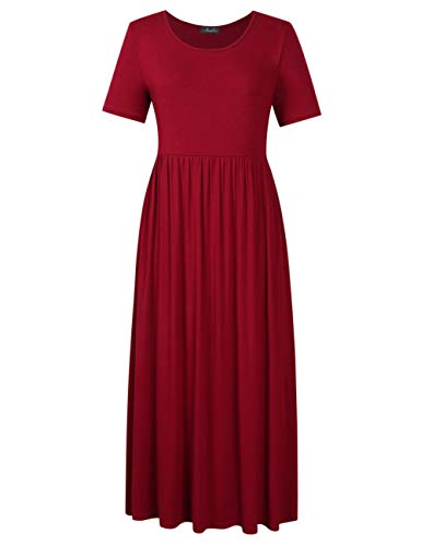 - AMZ PLUS Plus Size Scoop Neck Short Sleeve Pleated Tunic Casual Dress for Women (4XL, Solid red)