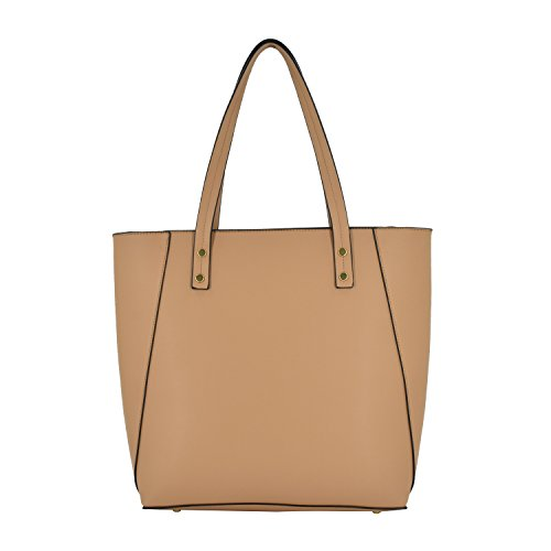 ESA Womens Tote Shoulder Handbags PU Leather Satchel Top handle Purse with Top Zip (Tan mix) by E.S.A. (Image #3)