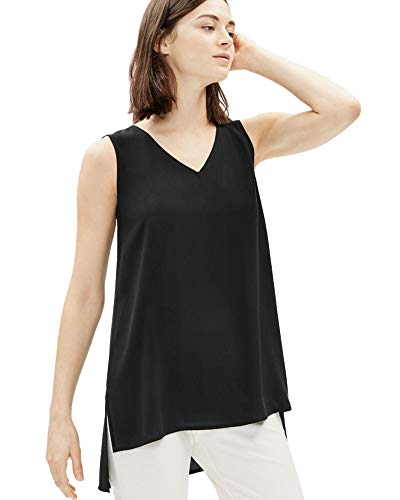 Eileen Fisher Black Silk Georgette Crepe V-Neck Long Shell XS
