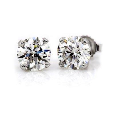 1.5 Carat Diamond Round Stud Earrings