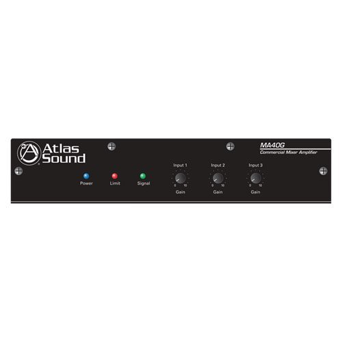 Atlas Sound MA40G Global Mixer Amplifier 3 Channel 40 Watt Balanced MicLineTel Input ()