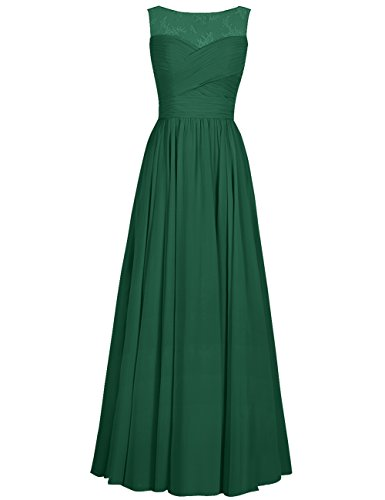 Dress Dark Women's Gowns Cdress Applique Bridesmaid Evening Chiffon Formal Flora Dresses green Prom Long anU17q