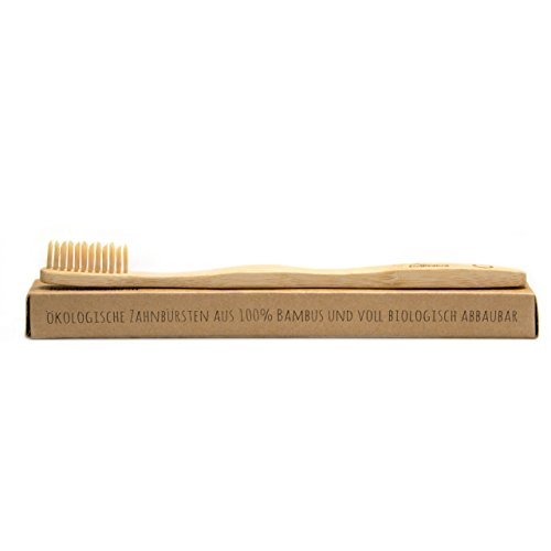 BeeClean bamboobrush Juego de 2 ecológica de mano Cepillos de Dientes para adultos y niños bambú, Capacidad de madera con medio de cerdas.