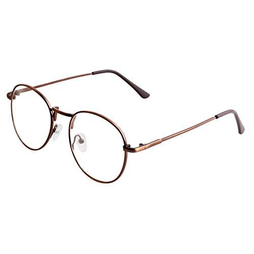 Doober Women Girls Thin Metal Spectacle Frame Eyeglasses Clear Lens Glasses (Bronze, - Girls Frames For Spectacle